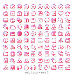 Red line web icon - set 1 vector