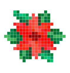 red pixel flower vector image