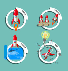 rocket business flat art style set vector image