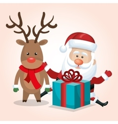 santa claus reindeer gift merry christmas isolated vector image
