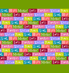 Seamless pattern collage with words vector