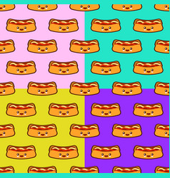 seamless pattern set with hot dog cute fast food vector image