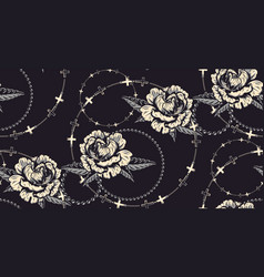 seamless pattern with flowers and chains for dark vector image