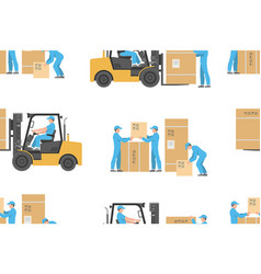 seamless pattern with forklift truck and warehouse vector image