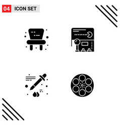Set 4 commercial solid glyphs pack for baby vector