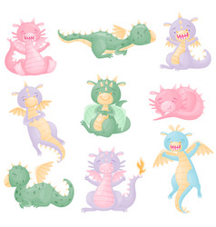set cute dragons with wings vector image