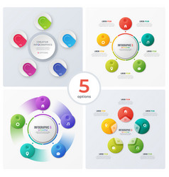 set modern circle charts infographic designs vector image