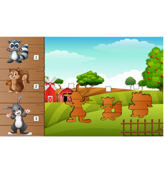 Set of matching farm animal game vector
