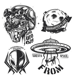 set ufo elements aliens flying sauce vector image