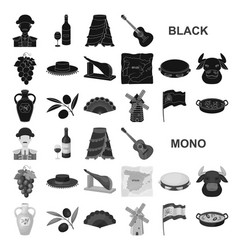 spain country black icons in set collection for vector image