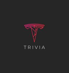 T letter outline modern initial logo template vector