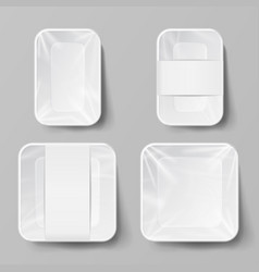 template blank white plastic food container set vector image