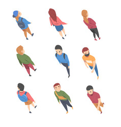Top view on going and walking people characters vector