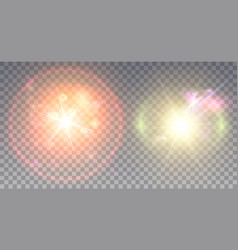 two colorful lens flare effects vector image