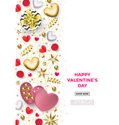 valentines day web banner background hearts vector image