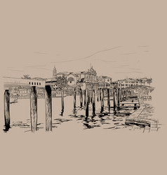Venice embankment italy digital sketch hand vector