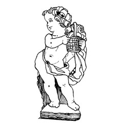Vintage engraving a child angel carrying vector