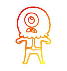 Warm gradient line drawing cartoon cyclops alien vector