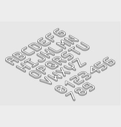 white isometric font alphabet in thin line style vector image