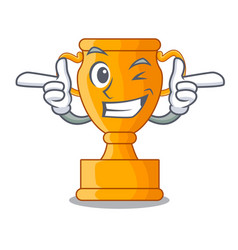 Wink cartoon trophy cup with star on cyan vector