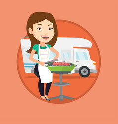 woman having barbecue in front of camper van vector image