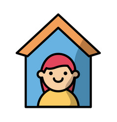 woman in house fill style icon vector image