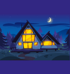 wooden house in forest at night vector image