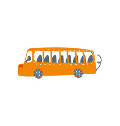 Yellow bus public transport side view cartoon vector