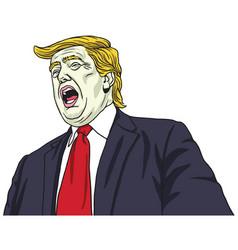 donald trump shouting portrait cartoon vector image vector image