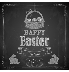 Happy Easter on chalkboard vector image vector image