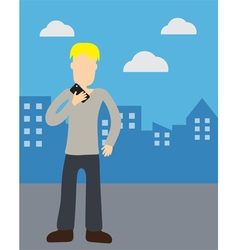 Man holding telephone vector image vector image
