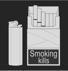 Open cigarettes pack chalk vector
