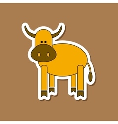 paper sticker on stylish background Kids toy cow vector image