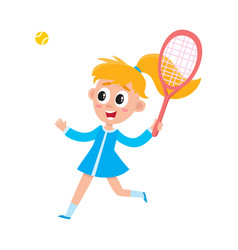 pretty girl in summer dress playing badminton vector image vector image