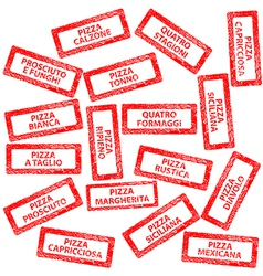 Restaurant menu rubber stamps with pizza types vector image vector image
