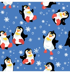 Seamless pattern with funny penguins and snowflake vector image vector image
