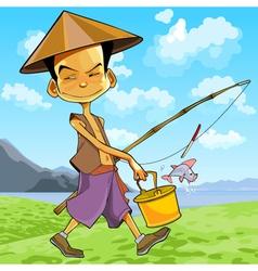 Cartoon man in a vietnamese hat walks vector