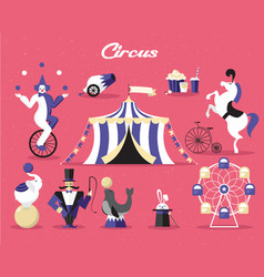 circus elements set on a vector image