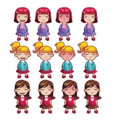 Girls emotions set vector image vector image