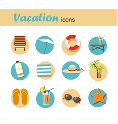 Icon set summer vacation and tourism infographic vector