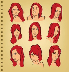 woman face on paper with color vector image