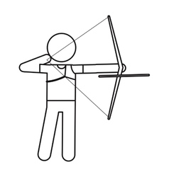 archery player aiming bow game outline vector image