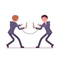 Businessmen khife fighting vector image vector image