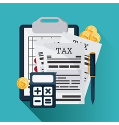 Document and calculator icon Tax and Financial vector image