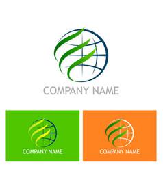 globe abstract environment eco logo vector image