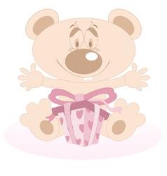 Teddy Bear with a present vector image