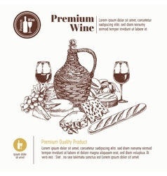 background with hand drawn wine bottle vector image vector image