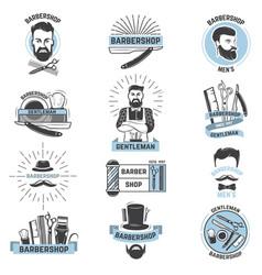 barbershop logo barber cuts male haircut vector image
