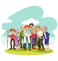 Doctor and many people in the field vector image vector image