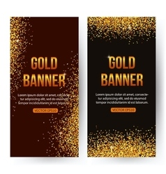 Gold banners with glitters and sparkles Gold vector image vector image